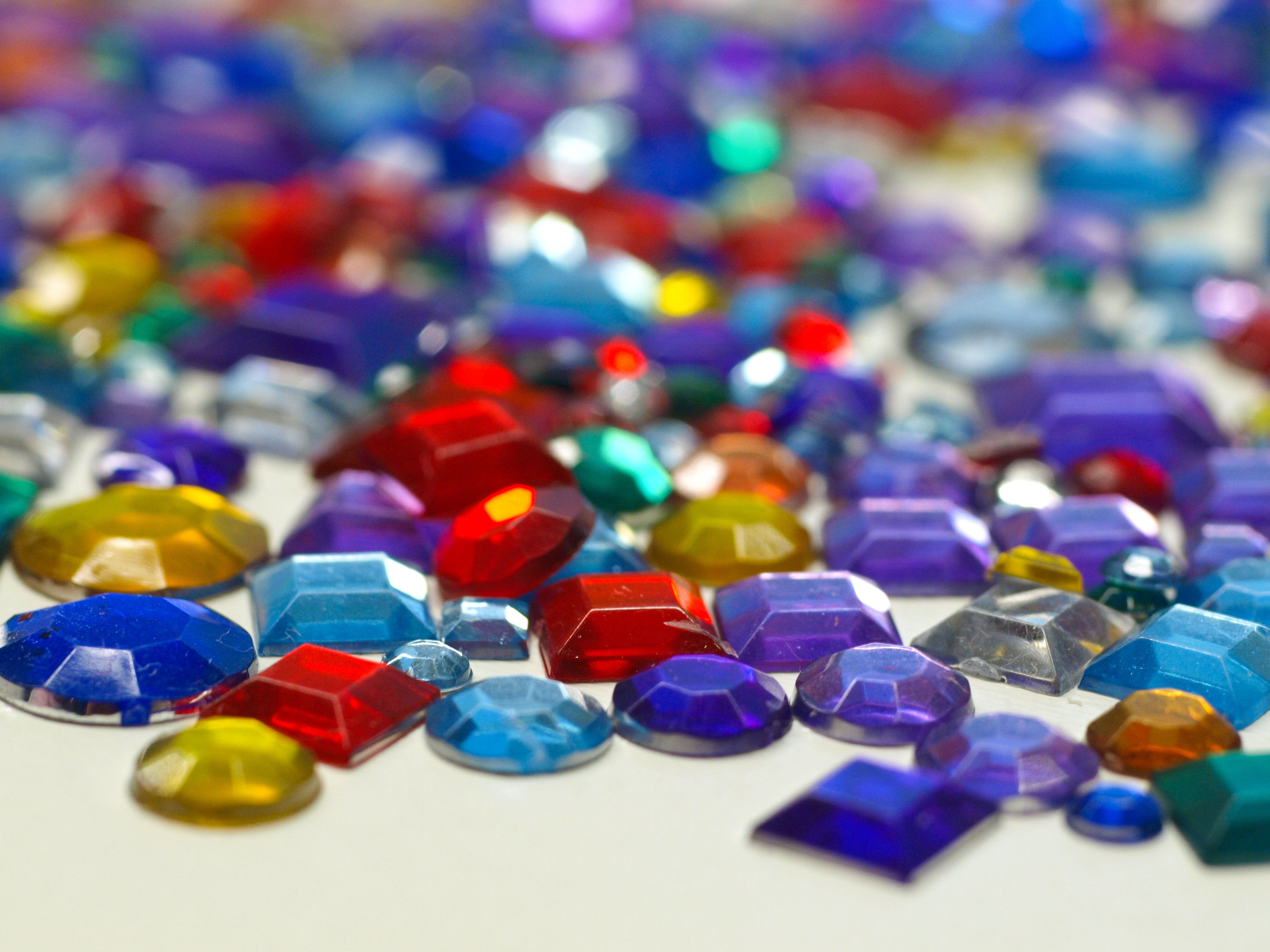A colorful assortment of artificial plastic je...