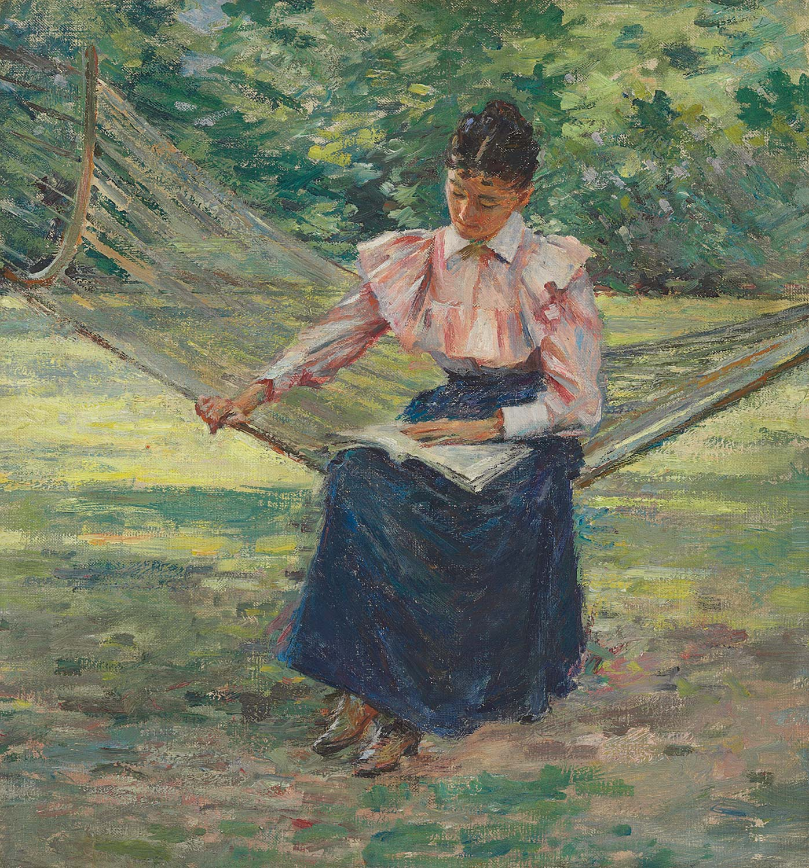 File Girl In Hammock By Theodore Robinson