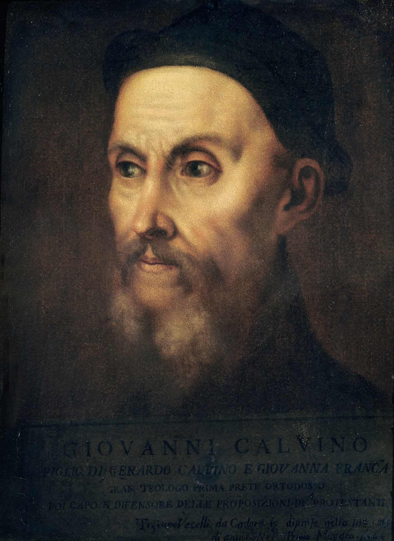 Portrait of John Calvin (1509-64) (oil on canv...