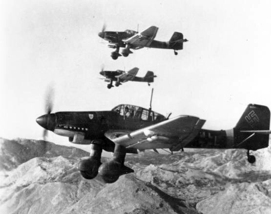 Three German Junkers Ju 87D dive bombers, Stuka