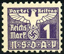 English: NSDAP dues revenue stamp, 1 RM, 1942 ...
