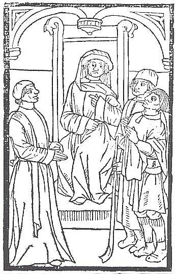 Maître Pathelin au tribunal - Gravure du moyen âge