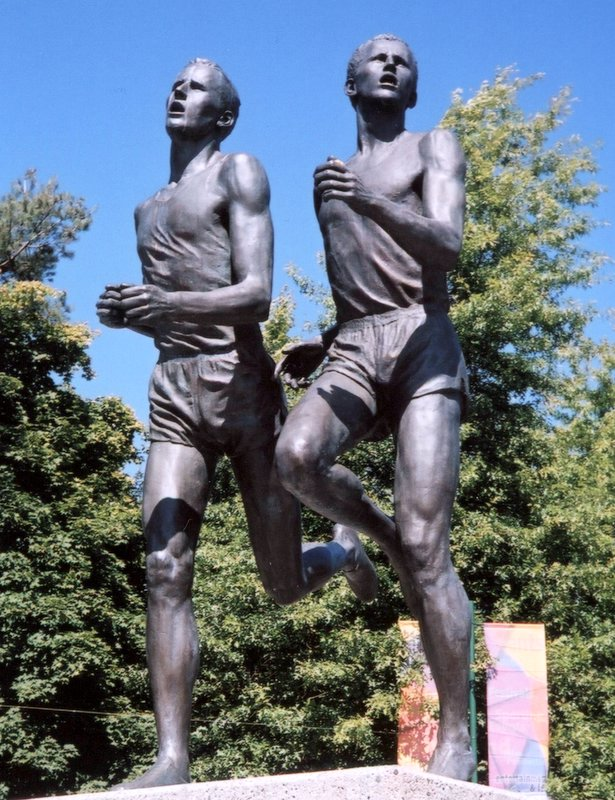 Sculpture of Roger Bannister and John Landy at the Pacific National Exhibition fairgrounds entrance, Vancouver | Dr. Achyuthan Eswar Naturopathy and Yoga