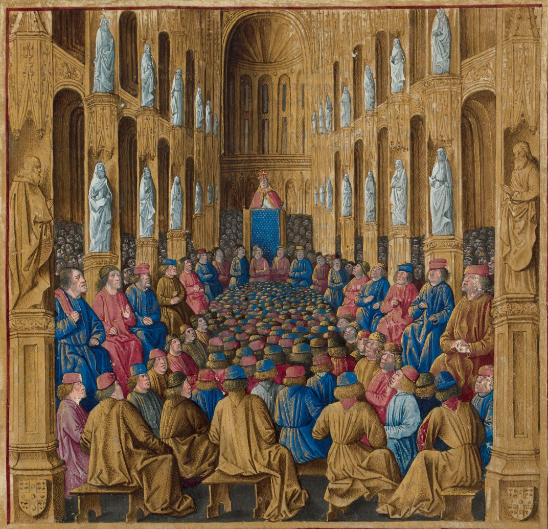 Pope Urban at the Council of Clermont calling for the Crusades from Wikipedia