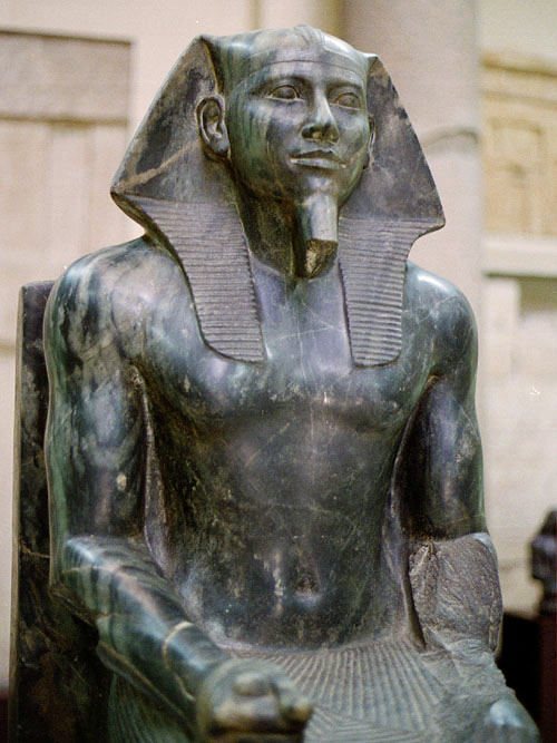 Statue of Khafre in diorite. Valley Temple of Khafre, Giza.