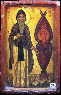 Saint Macarius of Egypt and the Cherub. Venera...