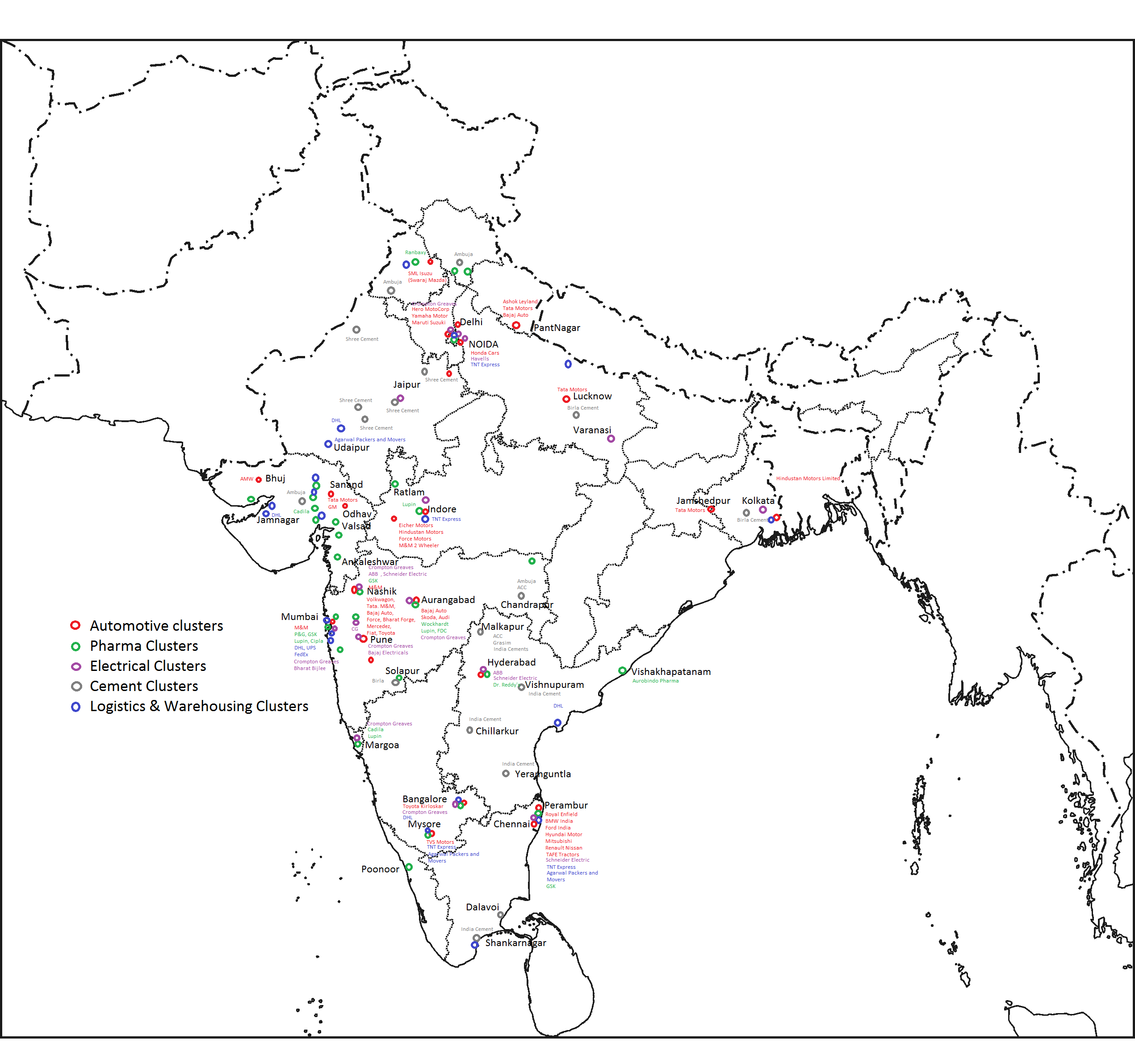 List Of Industrial Centres In India