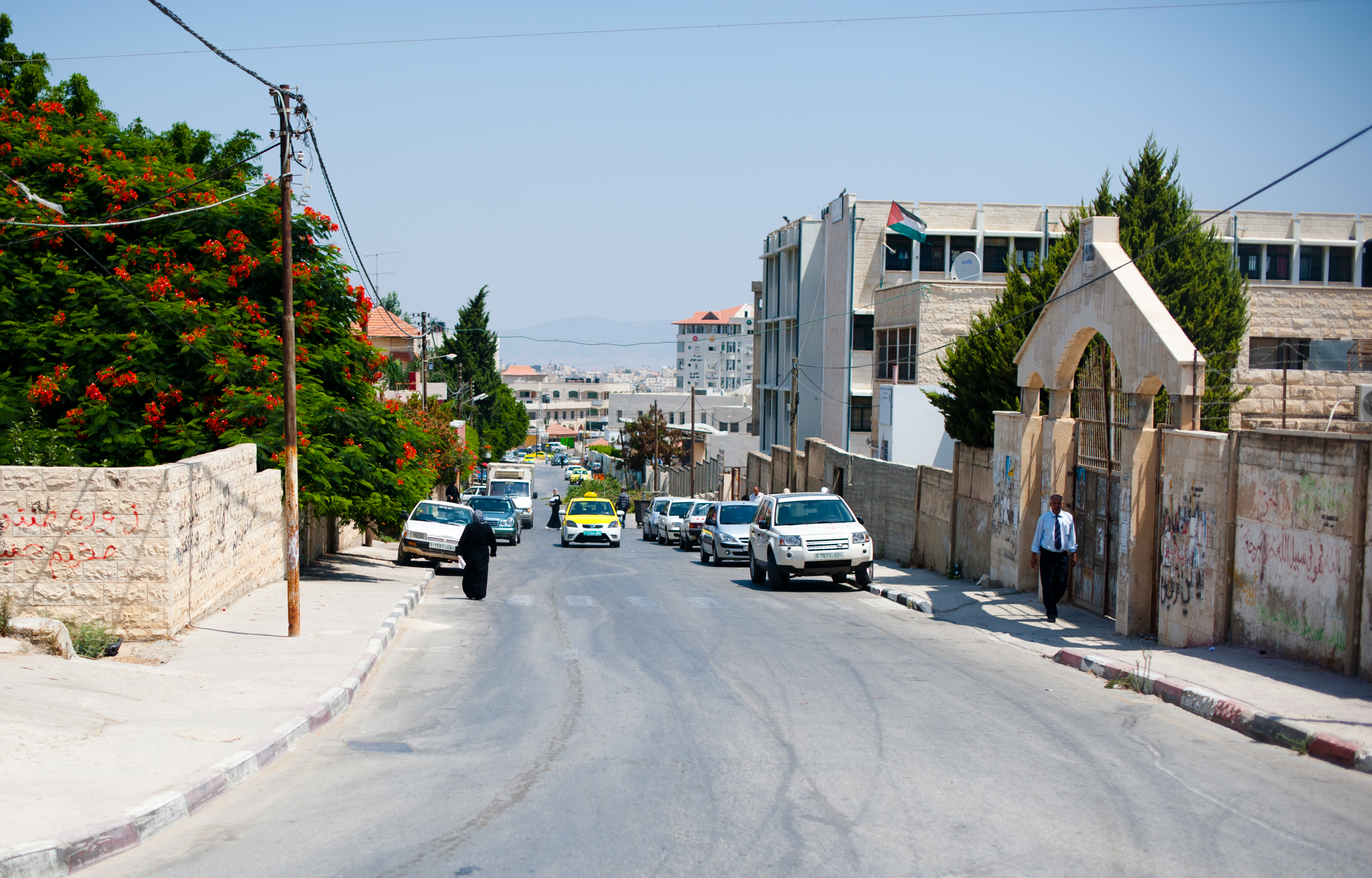 A street in the City of Jenin from 2011. The city includes a modern university and the refugee camp to which some residents are relegated.
