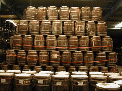 Tabasco oak barrels aging.