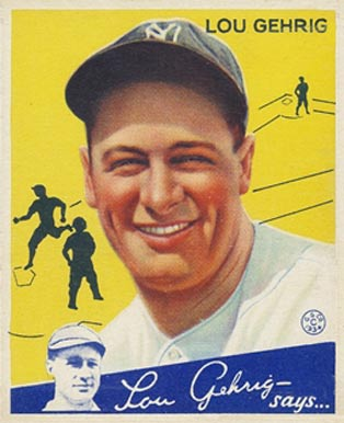English: 1934 Goudey baseball card of Lou Gehr...