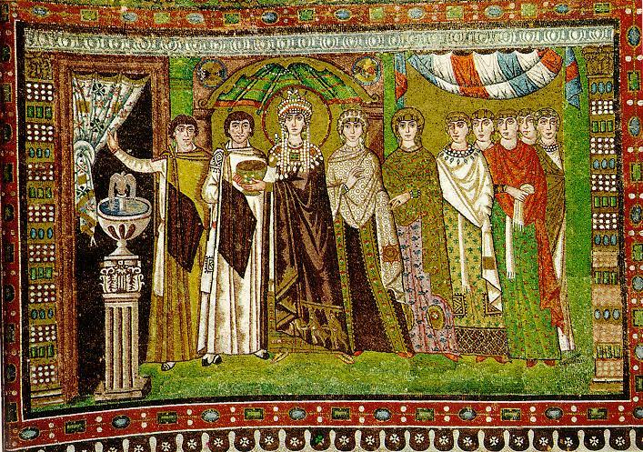 The Empress Theodora with his entourage.