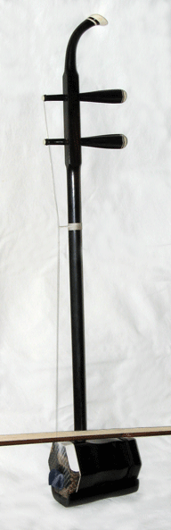 Side view of an erhu, a common huqin