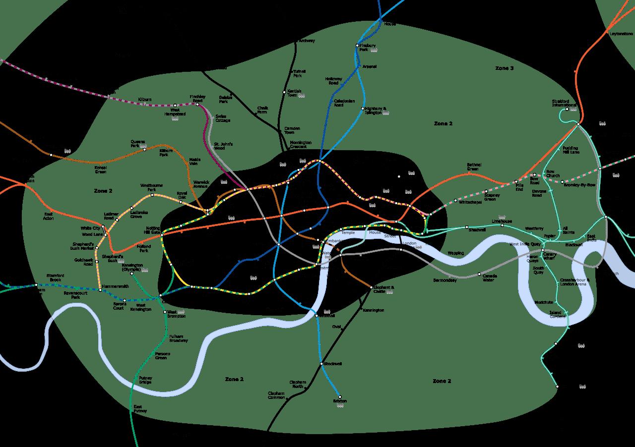 Mapa del Metro de Londres y zonas de transporte