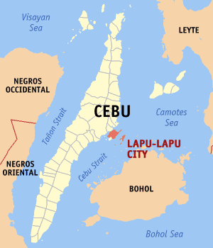 Map of Cebu showing the location of Lapu-Lapu