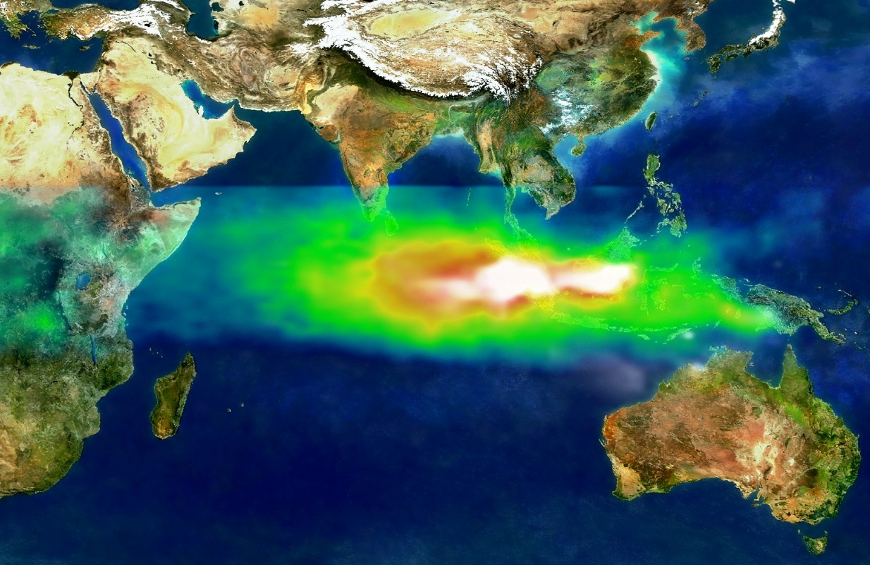 Pollution over Indonesia and the Indian Ocean on 22 Oct, 1997