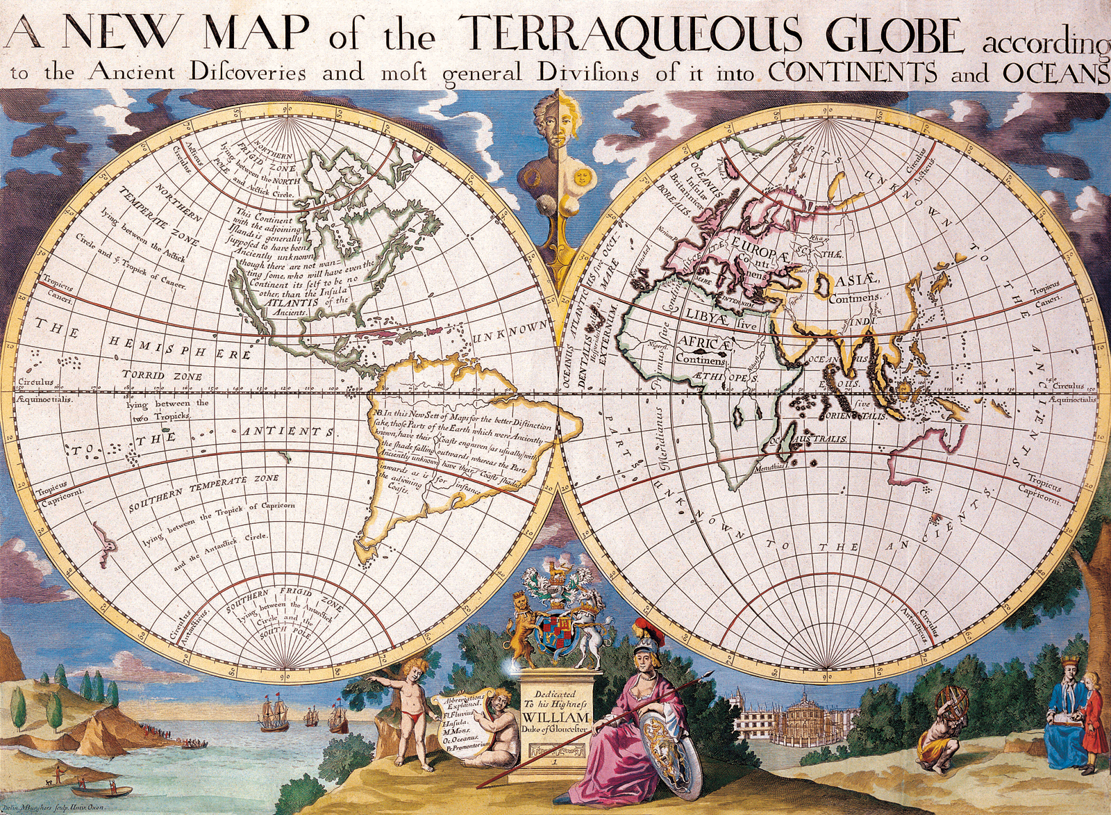 File Antique World Map Of Continents And Oceans