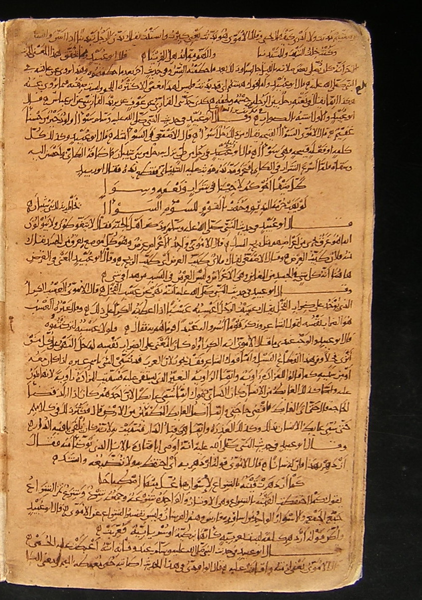 Gharib Al-Hadith, By Abu `ubayd Al-Qasim B. Sallam Al-Harawi (D. 223/837).  The Oldest Known Dated Arabic Manuscript On Paper In Leiden University  Library,
