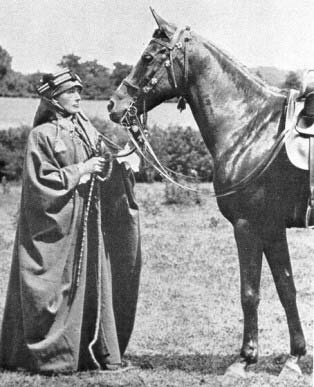 Lady Anne Blunt, in Bedouin dress, and her favorite riding mare, Kasida, c. 1900.