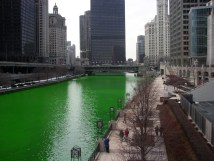 File Chicago River Dyed Green Buildings Prominent