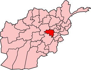 Map of Afghanistan with Maidan Wardak highlighted