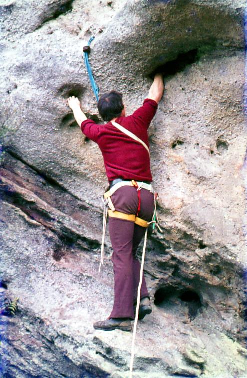 Mountain climber climbing