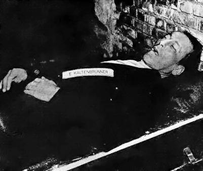The body of Ernst Kaltenbrunner after his exec...