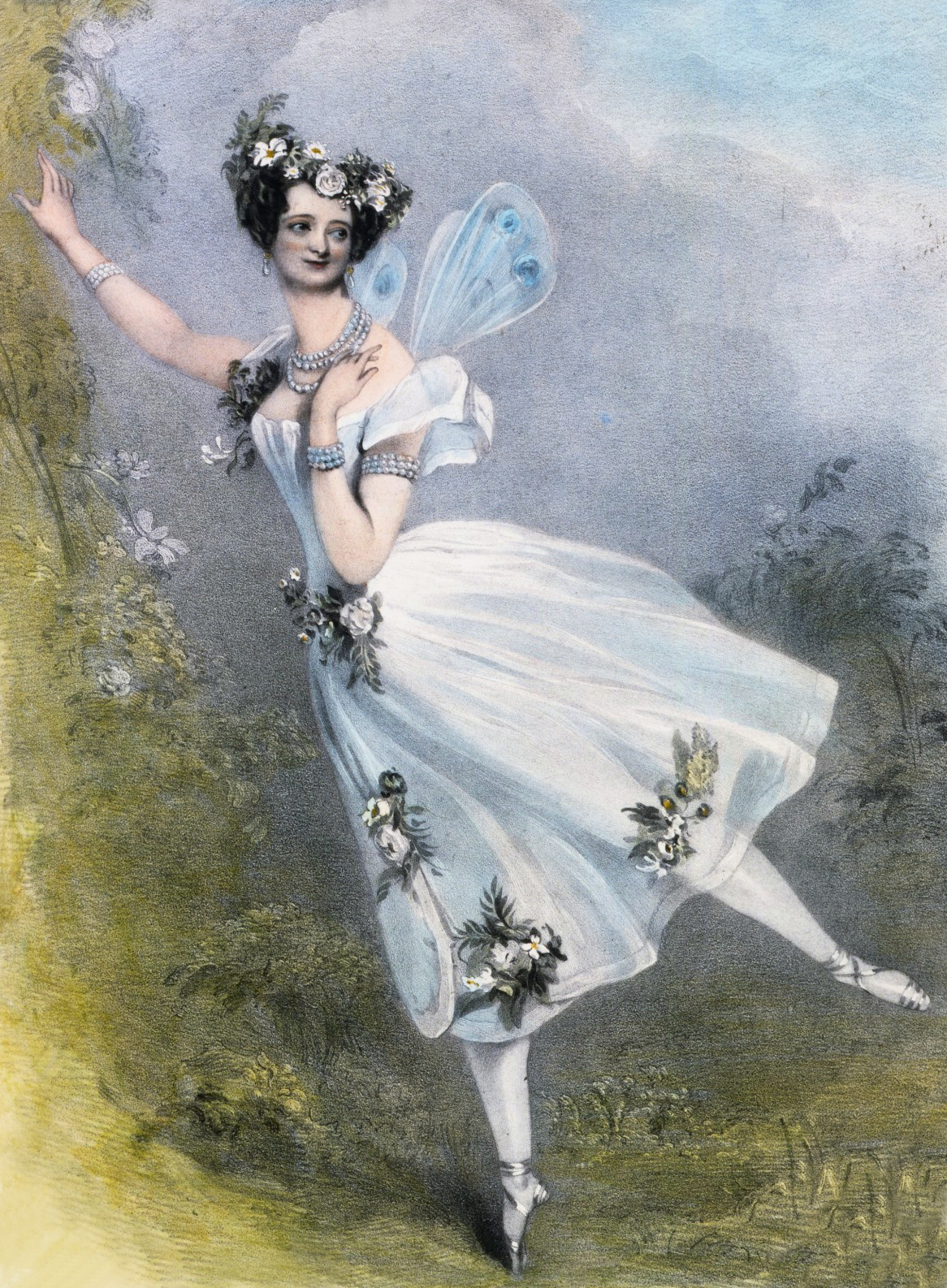 Marie Taglioni. Coloured Lithograph, circa 1831. From the V&A Theatre Museum © Source: Wikipedia