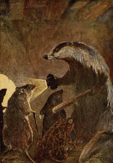 Rat, Mole, Toad and Badger from Wind in the Willows by Paul Bransom (Image:Wind in the Willows (1913).djvu, page 326) [Public domain], via Wikimedia Commons