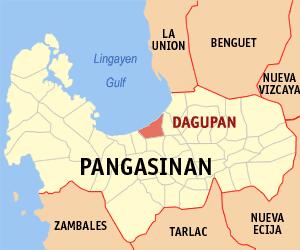 Map of Pangasinan showing the location of Dagupan