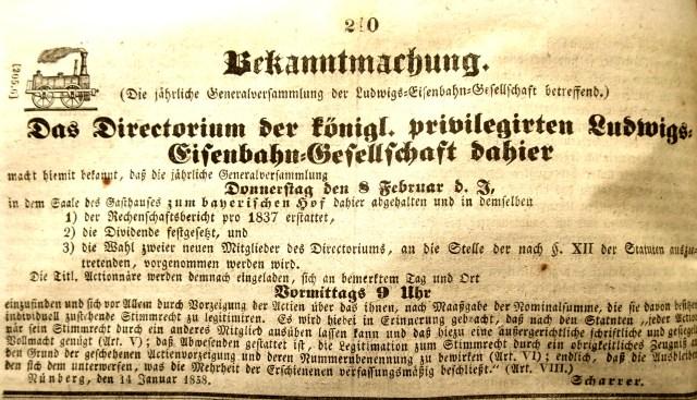 Aufruf zur Aktionärsversammlung der Ludwigs-Eisenbahn-Gesellschaft 1838 per Wikimedia