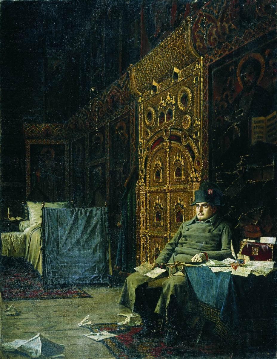 Vasily Vereshchagin: (1842-1904): On the Way. Bad news from France.