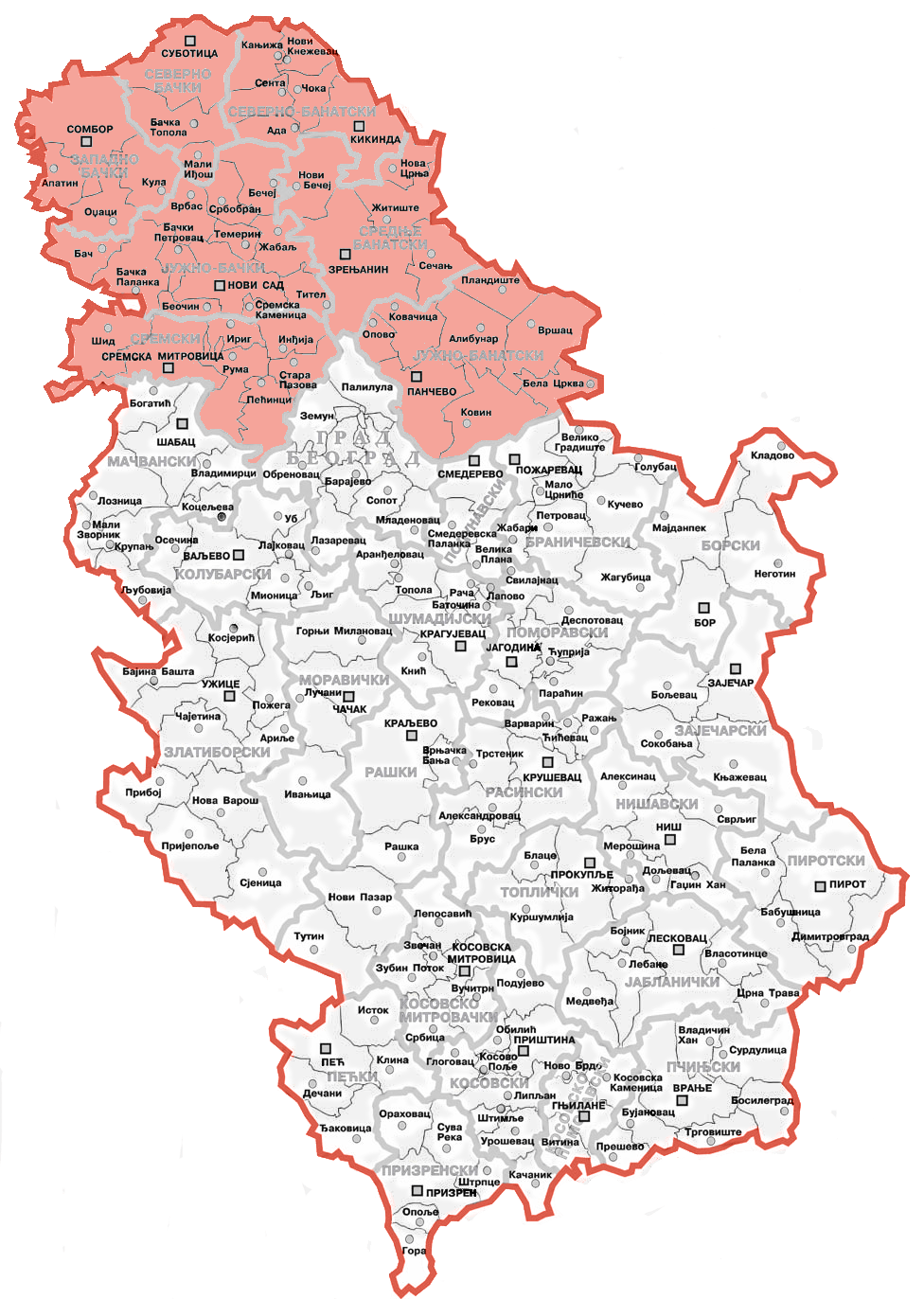 English: map showing location of Vojvodina wit...