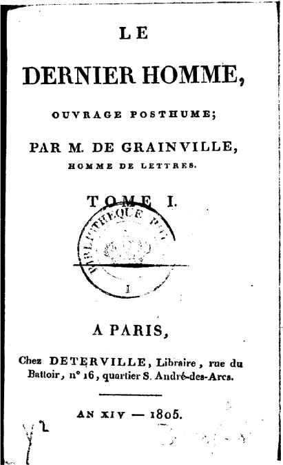 Le Dernier Homme (mary Shelley) : dernier, homme, (mary, shelley), Dernier, Homme, Wikipedia