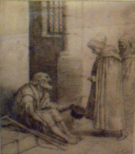 der Bettler, Gravur von Alphonse Legros (1837-1911), public domain