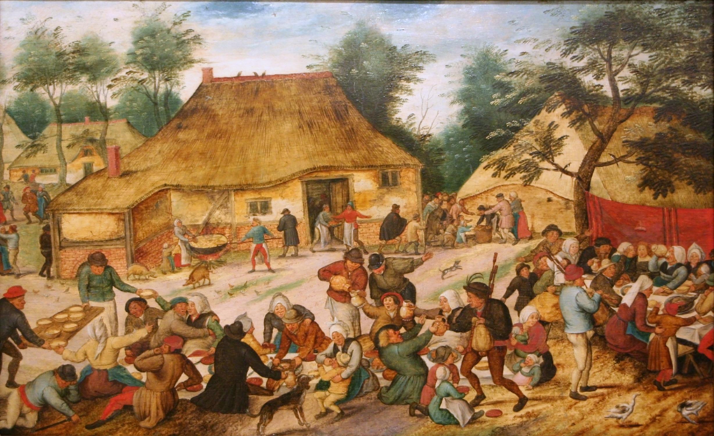 https://i0.wp.com/upload.wikimedia.org/wikipedia/commons/e/e5/Pieter_Brueghel_de_Jonge_-_Bruiloftsmaal_voor_een_boerenhuis.jpg