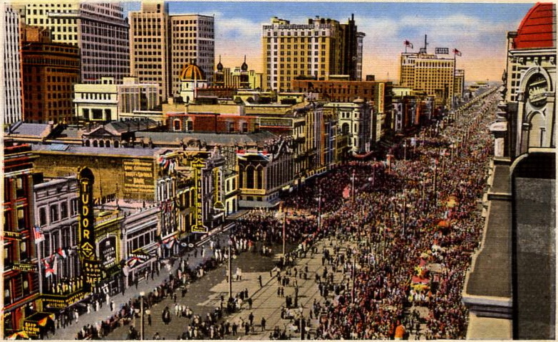 Postcard of Mardi Gras on Canal Street