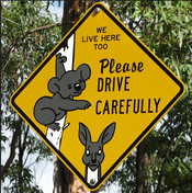 English: Koala and Kangaroo road sign Français...
