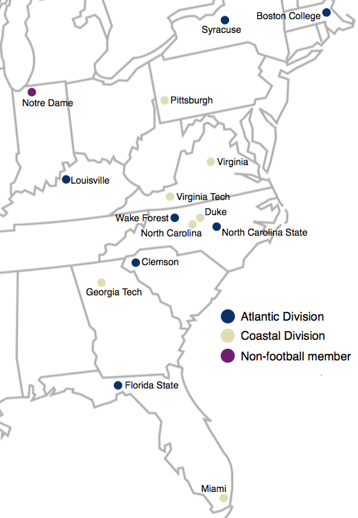 Locations of the Atlantic Coast Conference member