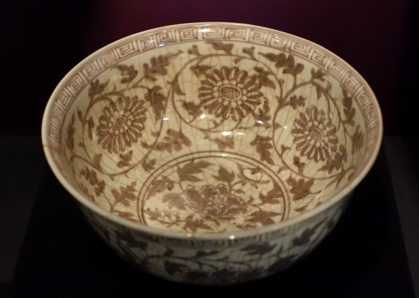File Bowl With Floral Design In Underglaze Red China