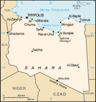 Polski: Mapa Libii na podstawie CIA World Factbook