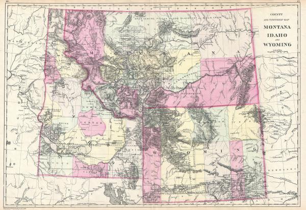 File1884 Bradley Map of Montana Wyoming and Idaho