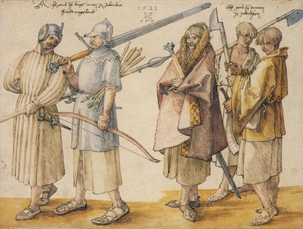 Drawing by Albrecht Dürer of Irish soldiers.