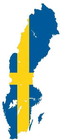 English: Map of Sweden with flag.