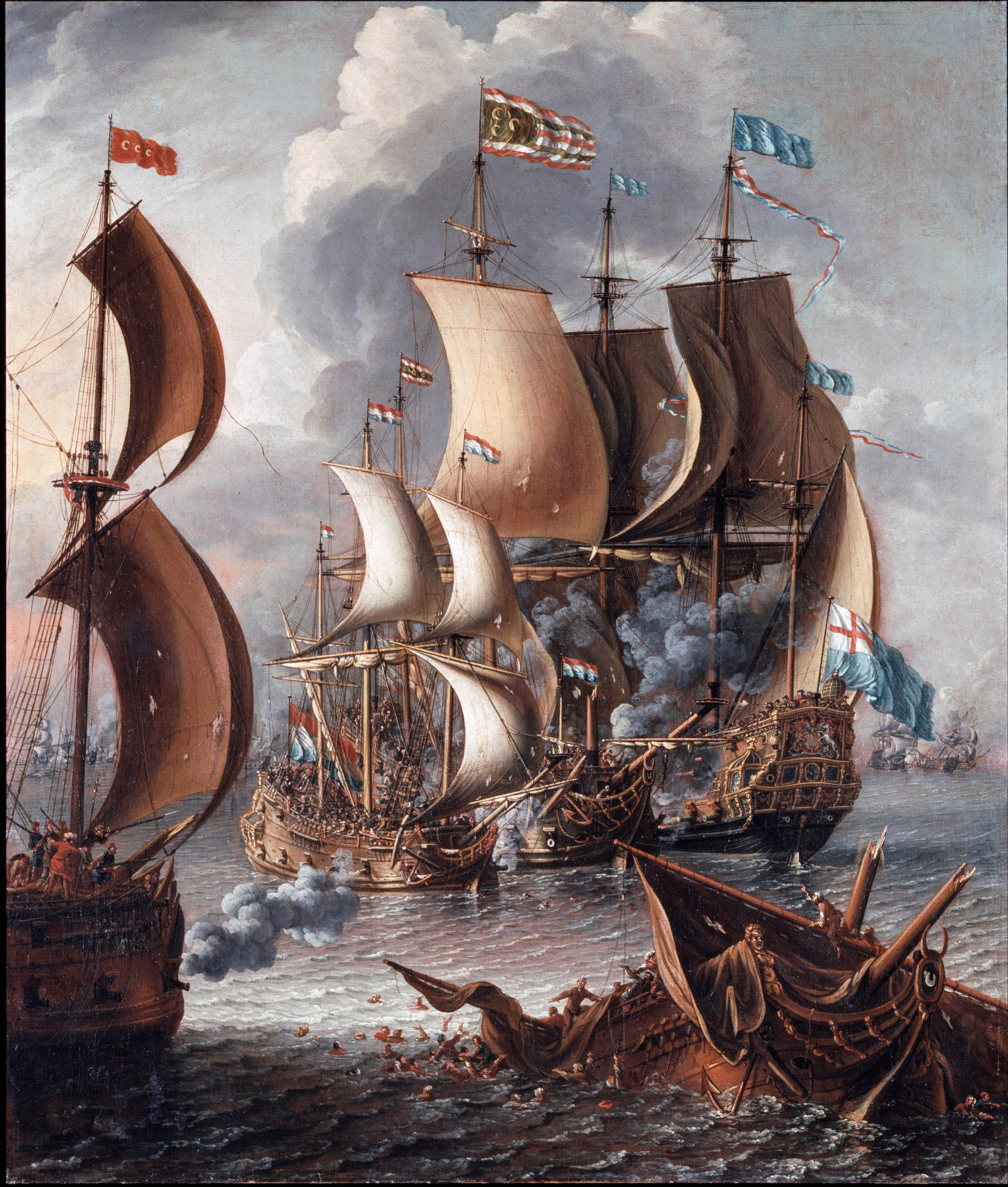 A Sea Fight with Barbary Corsairs by Lorenzo A Castro, 17th century