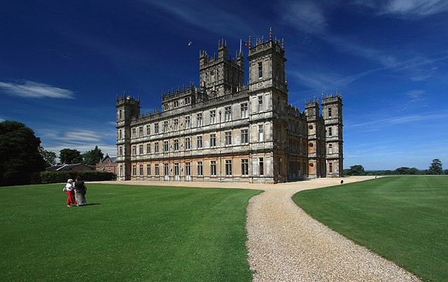Classically inspired Highclere Castle, 'Downton Abbey' in Hampshire, England, showing its symmetrical design