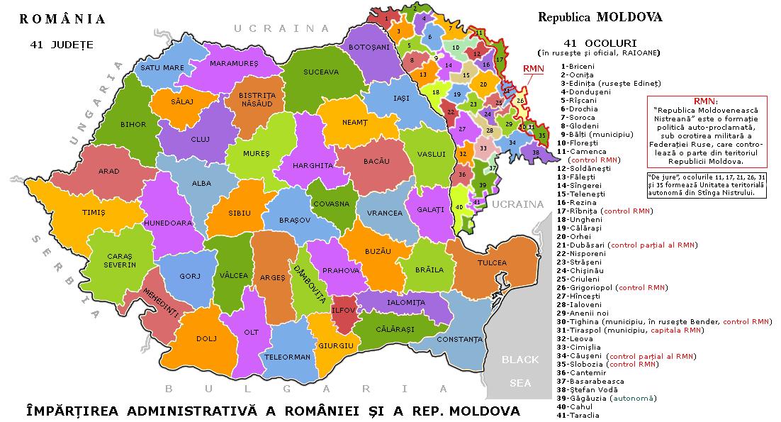 English: Romania's 41 judeţe & Moldova's 41 ra...