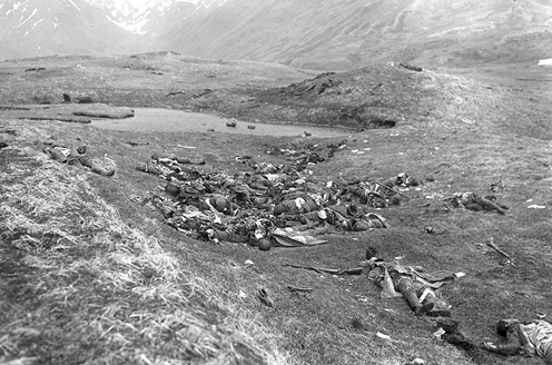 Dead Japanese personnel lie where they fell on...