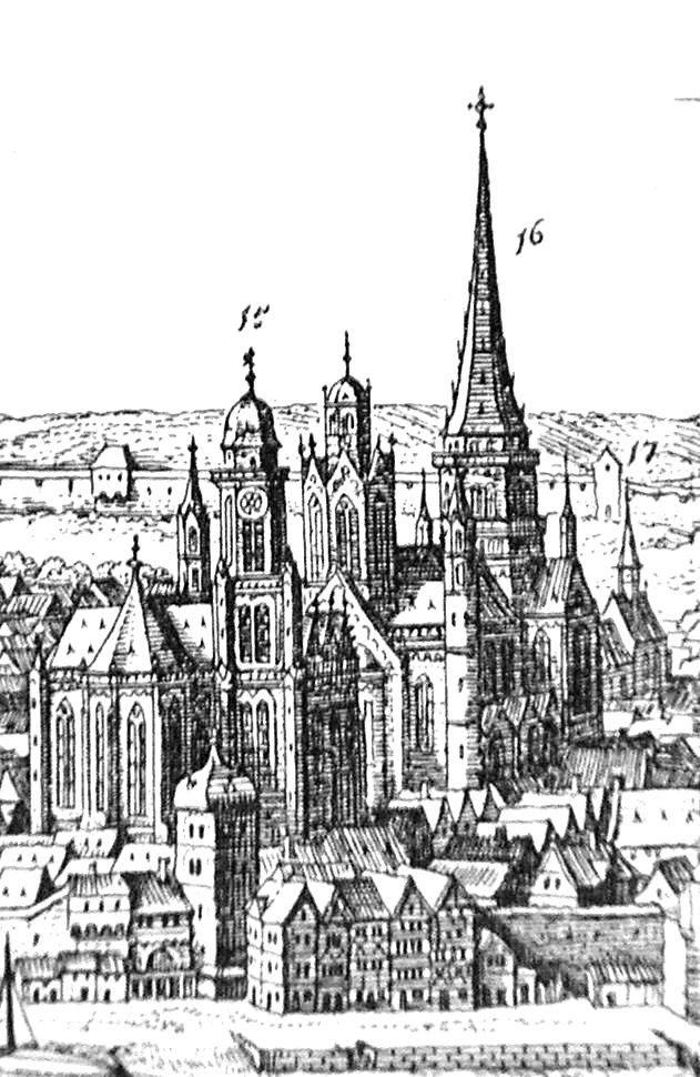 Liebfrauenkirche vor dem Mainzer Dom, in Matthaeus Merians Topographia Germaniae von 1675; Quelle: wikipedia