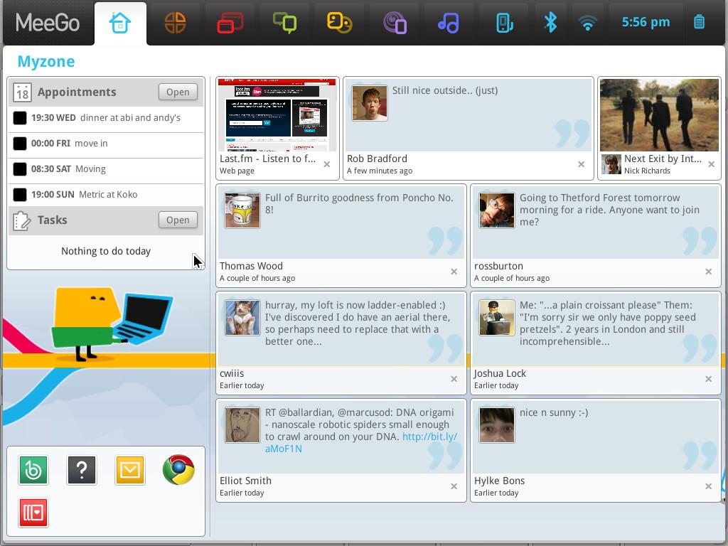 Tampilan MeeGo untuk Netbook