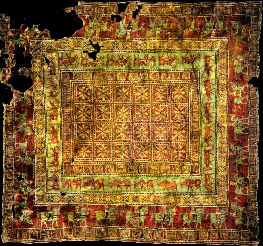 Prieš 2500 metų Armėnijoje ar Persijoje austas dažytas košeniliu Pazyryk kilimas